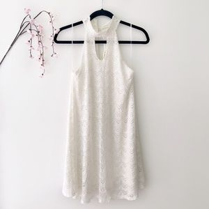 Ginger G White Lace Shift Halter Dress